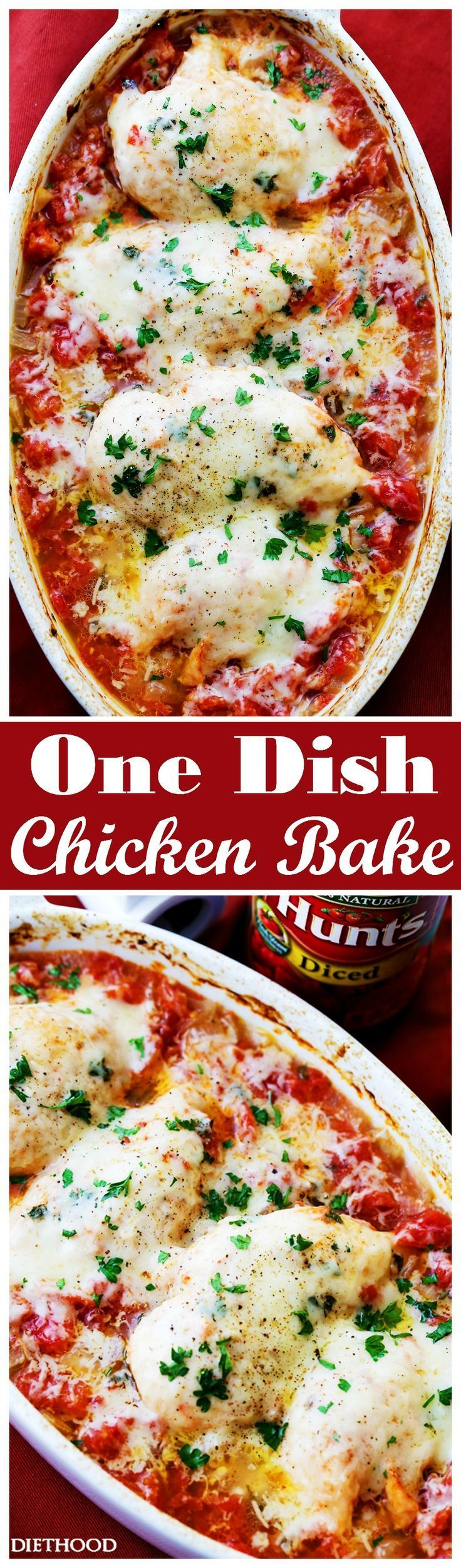 One Dish Chicken Bake - Flavorful chicken baked on a bed of tomatoes and covered in cheese makes for a one-dish dinner the whole family will enjoy.