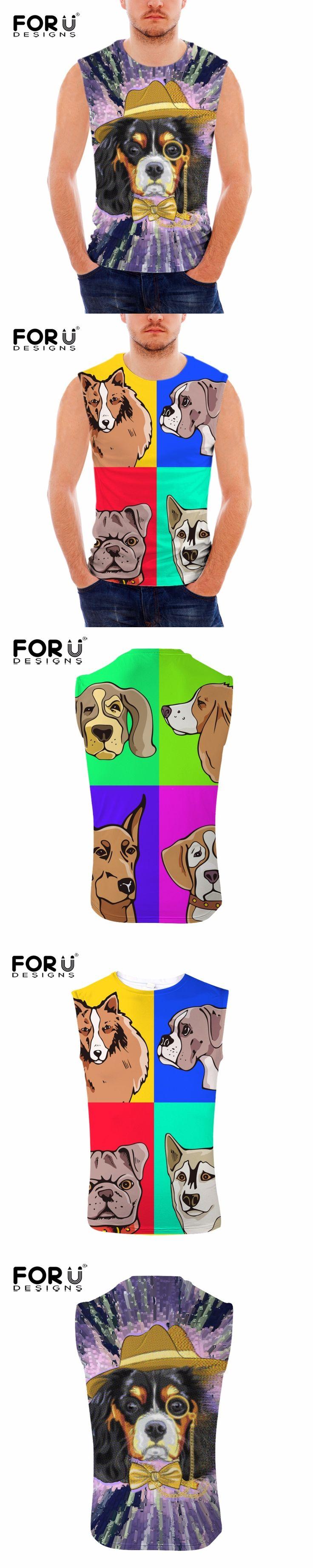 FORUDESIGNS 3D Cartoon Animal Dog Print Tank Top for Man Designer Male Bodybuilding Fitness Top Tees Sleeveless Blusa Masculina