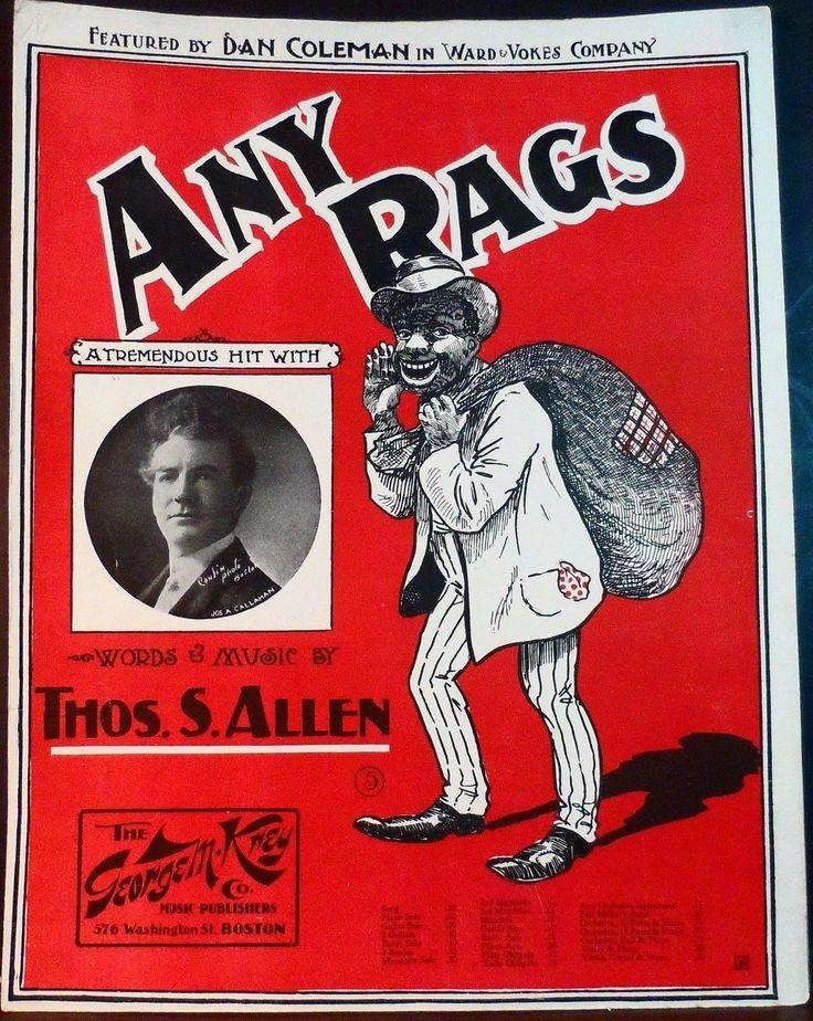 BLACK AMERICANA Sheet Music ANY RAGS 1902 Thomas Allen | eBay