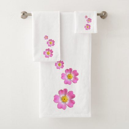 Lovely Pink Flowers Bath Towel Set - chic design idea diy elegant beautiful stylish modern exclusive trendy
