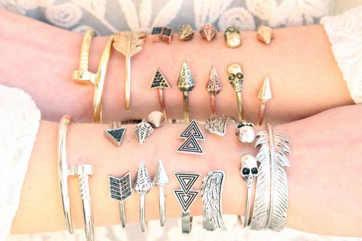 Inspiration bracelet jonc cônes jonc pointes jonc têtes de mort jonc clou jonc ailes jonc plume dorée argentée