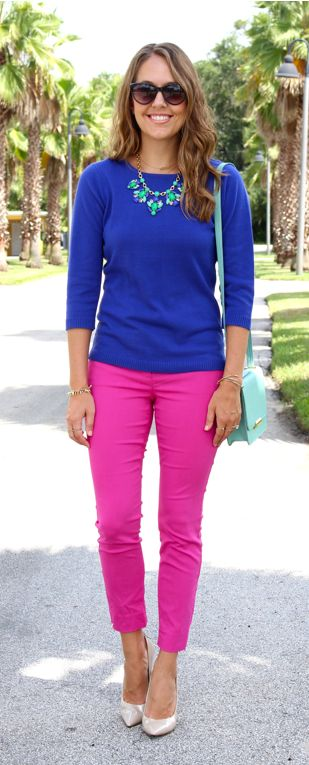Blue Spiegel sweater with Limited pink pants - love the pink pants mixed with that blue, with mint necklace, love