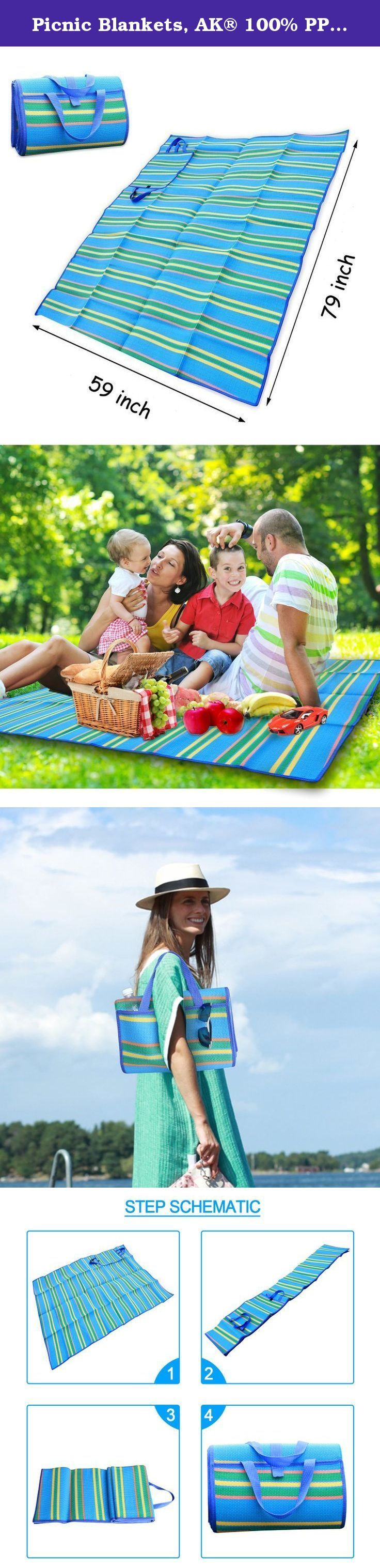 """Picnic Blankets, AK® 100% PP Woven Waterproof Sleeping Pad Handy Camping Mat with Strap,59"""" x 79"""" [Lightweight]. AK® Outdoor Camping Picnic Mats Are Perfect for Camping, Beaches, Picnic, Outdoor Concerts, or Just Enjoy a Relax Afternoon in the Park. Why Get This Picnic Blanket? Moisture-proof pad is very important when outdoor. The function of AK® Outdoor Camping Picnic Mats is great. Firstly, it is difficult to find a flat place when camping or hiking. You will feel uncomfortable when..."""