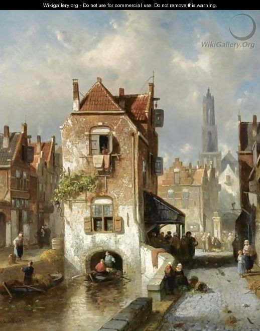 A View Of Utrecht, The Dom Tower In The Distance - Charles Henri Leickert