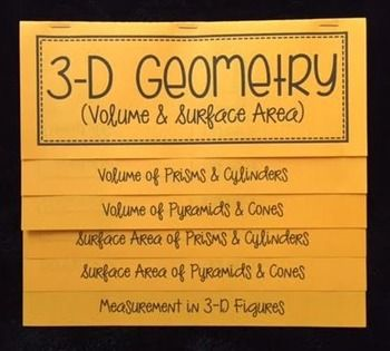 This foldable is organized into 5 tabs: Volume of Prisms & Cylinders Volume of Pyramids & Cones Surface Area of Prisms & Cylinders Surface Area of Pyramids & Cones Measurement in 3D FiguresThere are a total of 16 examples throughout the foldable as well as plenty of room for students to write the formulas and make notes about the process for solving.
