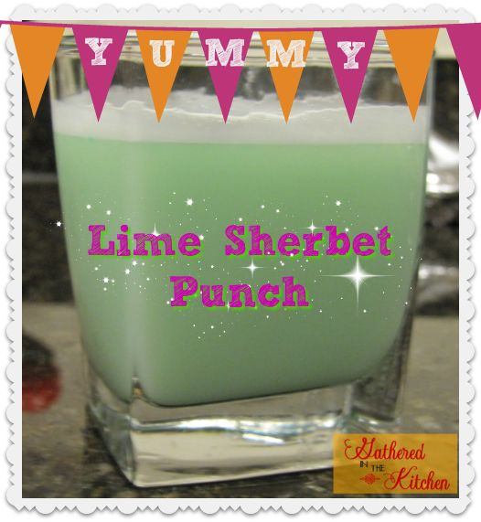 2 ingredient Lime Sherbet Punch. Perfect for parties!