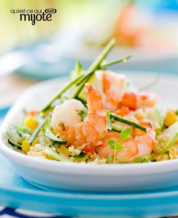 Mélange de crevettes grillées, de poivron, de courgette et de quinoa #recette