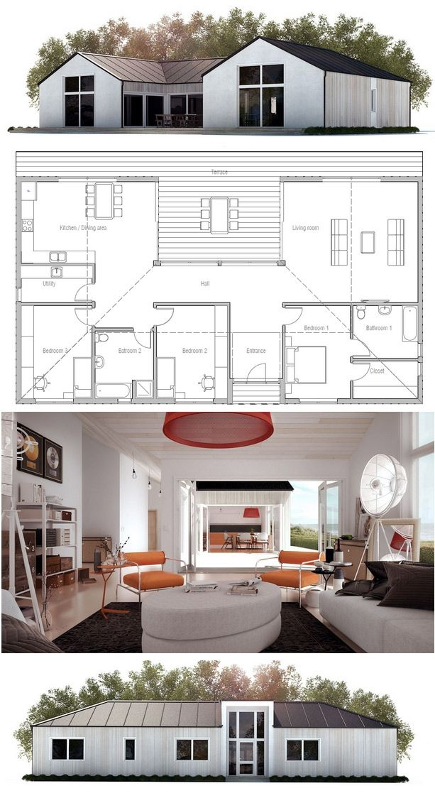 House Plan I can't make up my mind if i like this. i like the kitchen and living areas to be together. full view. if you use outdoor areas a lot this would be a good plan