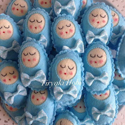 ♥ Tiryaki Hobi ♥: Keçe bebek şekeri / doğumgünü magneti -kundaklı bebek (Ahmet Furkan)