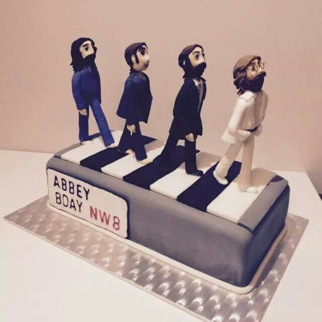 Very cute and masterfully done Abbey Road/Beatles birthday cake.