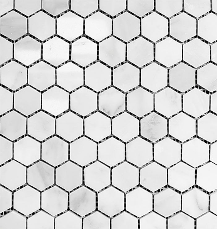 Hexagon Tile from Olympia Tile and Stone is on our shower walls!