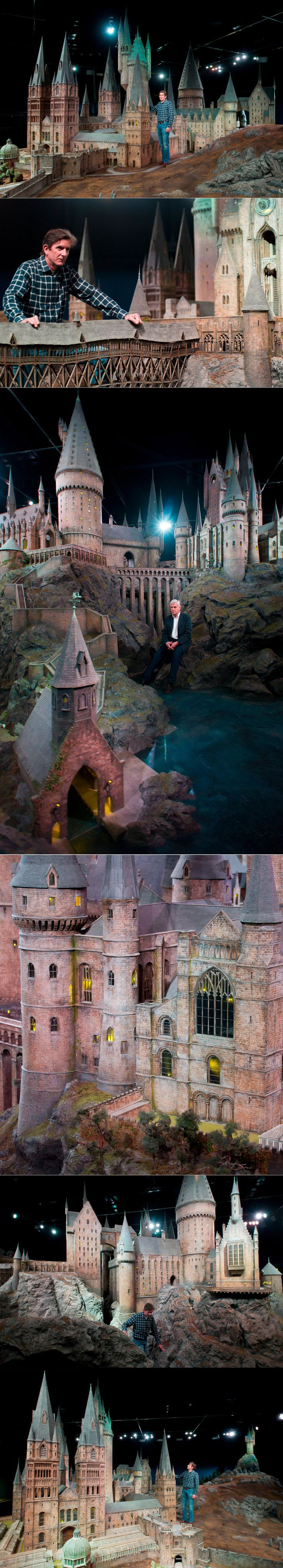 "Hogwarts Scale Model - ""Jose Granell, model supervisor, unveils a model of Hogwarts castle at the Warner Bros Studio Tour, in Watford, London, on March 1, 2012. The Hogwarts castle model was built for the first film ""Harry Potter and the Philosopher's Stone"", it was created for aerial photography and was digitally scanned for CGI scenes. It took 86 artists and crew members to construct, it measures over 50 feet in diameter and has over 2,500 fiber optic lights. (AP Photo/Jonathan Short)"""