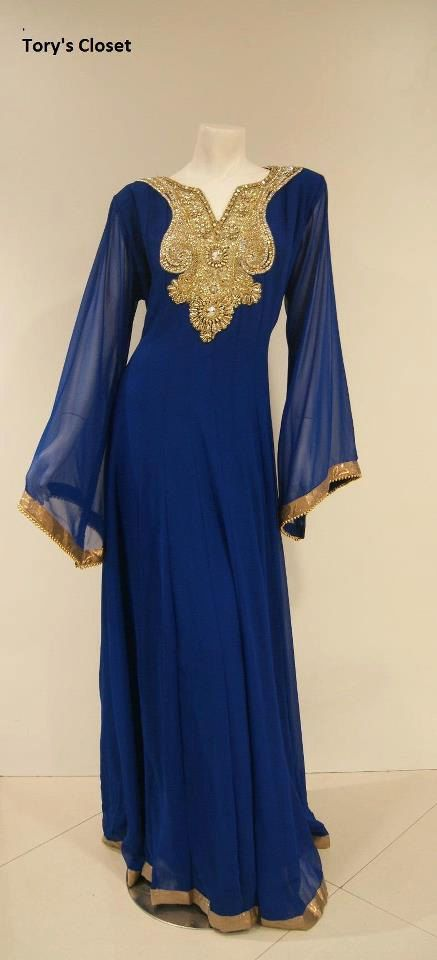 Very Fancy dubai Kaftan/Abaya/jalabiya ladies maxi dress(same on model, blue). $129.99, via Etsy.