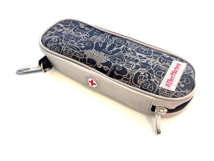 AllerMates Insulated Medicine Case for Carrying Allergy Medicines like EpiPens ® : Black and Gray Character Pattern