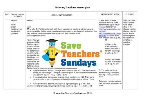 Ordering Fractions  KS2 Worksheets, Lesson Plans, PowerPoint and Plenary