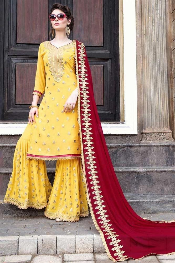78c93b4db6 New stylish Gota Patti Pattern Sharara Salwar Suit with Heavy Work Contrast  Dupatta Concept. Top:- Georgette With Embroidery work. Dupatta :-…