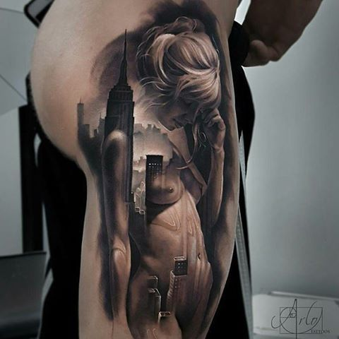 Perfect Black and Gray Tattoo on woman's Thigh #best #tattoo #ever