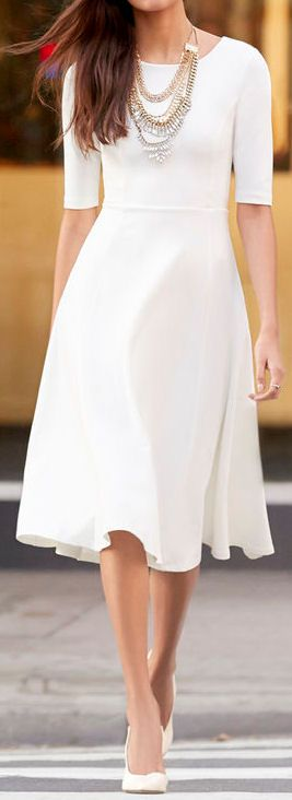 Timeless classic minimalistic Ivory Midi Dress, $68 from Lulus! Mid length sleeves, what a beauty for professional or leisure attire. Enjoy RUSHWORLD boards, UNPREDICTABLE WOMEN HAUTE COUTURE, BUDGET PRINCESS COUTURE and WEDDING GOWN HOUND. Follow RUSHWORLD! We're on the hunt for everything you'll love!