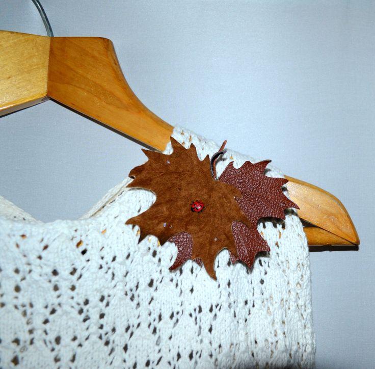 brooch handmade genuine leather maple-leaf  . Ready to ship.брошь из кожи  листик клёна с божьей коровкой и капли дождя. (25.00 USD) by jewelryleather
