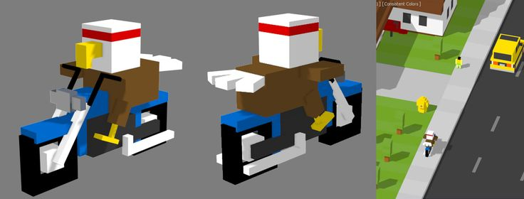 """Concept art for """"Eagle Biker"""" for Delivery Road!  #mobilegames #indiedev #indiegame #ios #androiddev #Android #unity #gamedevelopment #conceptart #pixelart #voxelart #watercolor #deliveryroad"""