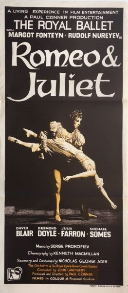 Romeo & Juliet Original 1966 Australia/NZ Daybill Ballet Movie Poster, staring Margot Fonteyn and Rudolf Nureyev. Available for purchase from our website.