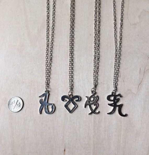 Shadowhunter Rune Necklaces (left to right: Love, Angelic Power, Fearless, Iratze) by TheLastPegasus