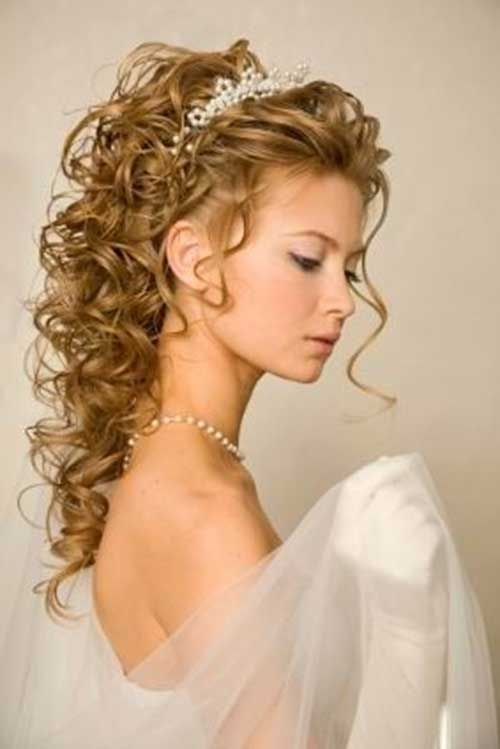 ❤️Love love love this!!! If you're not into a crown look, U can buy a less decorative headband or combs can be used to replace the headband to pull up your sides. Still a soft curl over straight hair on the top. Your dress to too elegant for straight hairs/bangs!!!❤️ Long Curly Updo Hair for Wedding