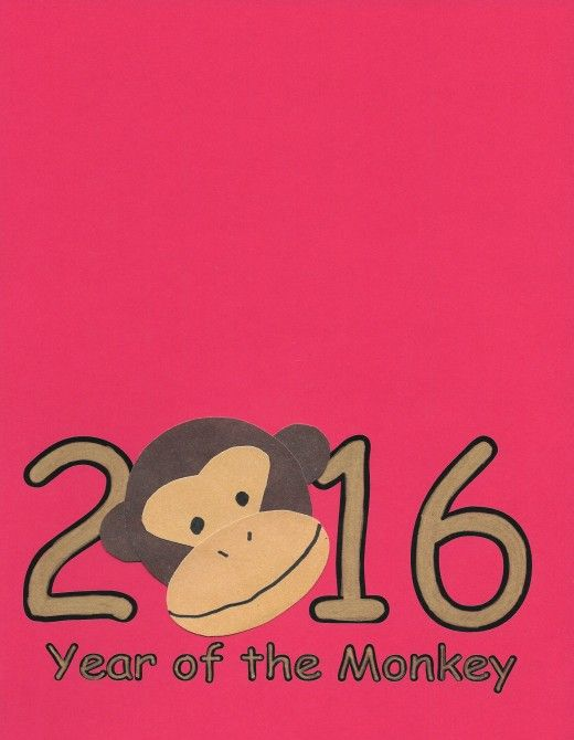 Printable template for 2016 Greeting Card   Year of the Monkey: Chinese New Year crafts Site with lots of crafts for kids.  activities children