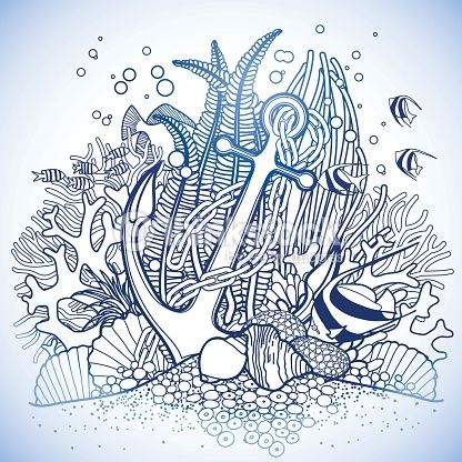 Anchor And Coral Reef Vector Art | Thinkstock