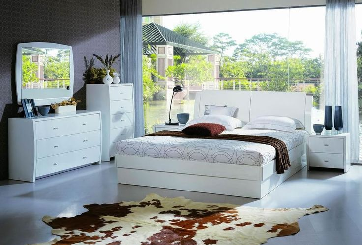 Palermo White Bedroom Set, platform bed with slats, underbed lifts up and storage behind headboard. set is $2,175