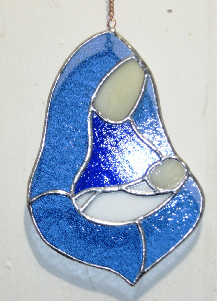 """Mother and child in stained glass- 14""""- Cyber Monday Special - 15% OFF. $37.50, via Etsy."""