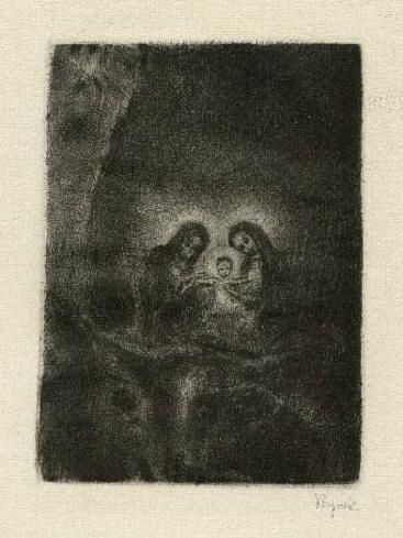Bohuslav Reynek Narození Páně III / Birth of the Lord III suchá jehla / dry point 10,8 x 8 cm, 40. léta / 40. years, opus G 228