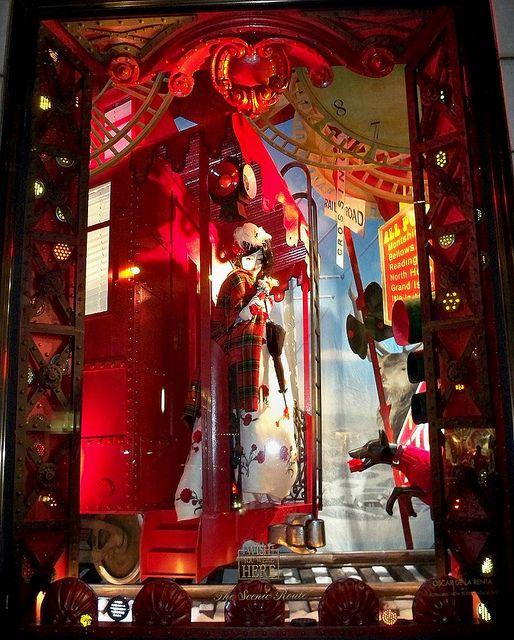 Bergdorf Goodman Christmas window display in the Wish You Were Here series
