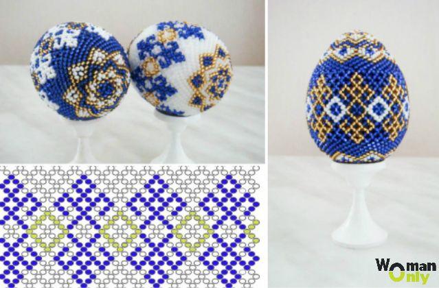 Пасхальные яйца из бисера - ячеистое плетение