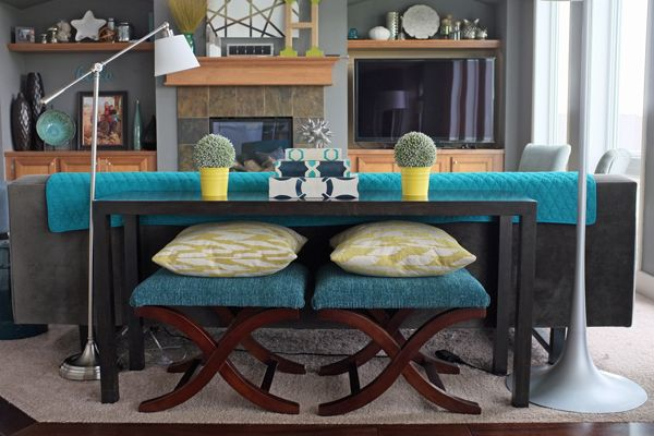 How to Style a Sofa Table - stash stools/ottomen under the console table when not in use