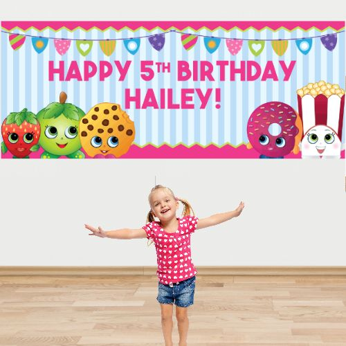 Shopkins PERSONALIZED Giant Birthday Banner Party Supplies Canada - Open A Party