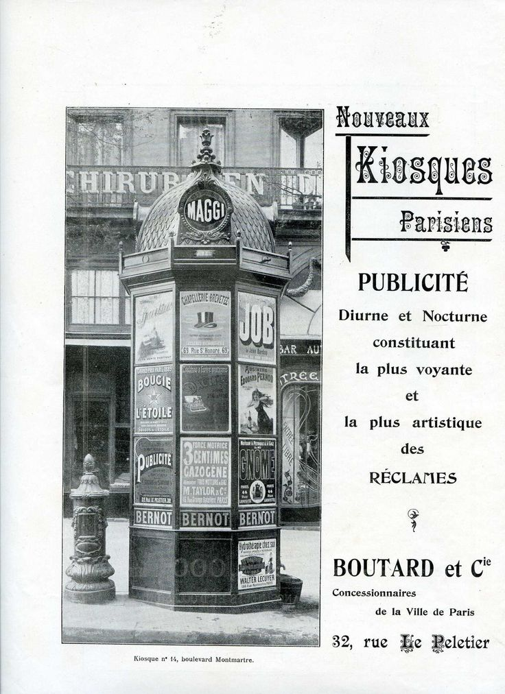 1900 Publicité pour les Kiosques Parisiens BOUTARD & Cie - Paris, Colonne Morris in Livres, BD, revues, Livres anciens, recherchés | eBay (Found on Ebay,  Ad for a Morris Column -- Day and Night the most seen and the most artistic!  Note that there's a pillar mailbox in the photo next to the column.)