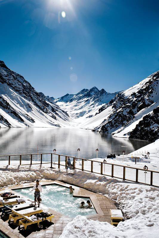 Swimming above the Lake of the Incas provides an incredibly scenic place to relax after a day on Portillos slopes in Chile