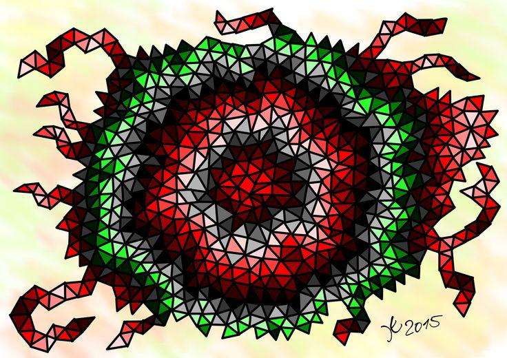 Dreiecksgeschichte in rot und grün