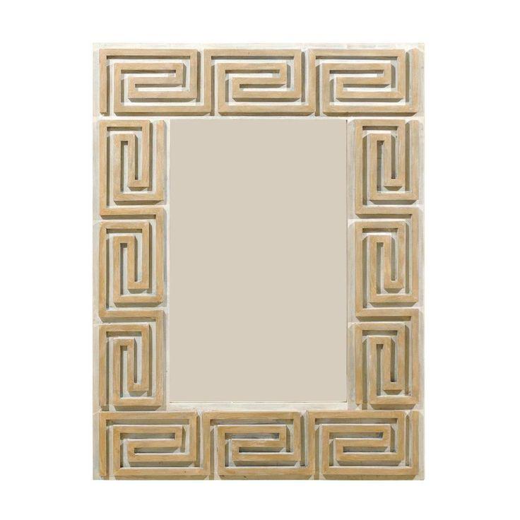 Greek Key Painted Wood Mirror 1