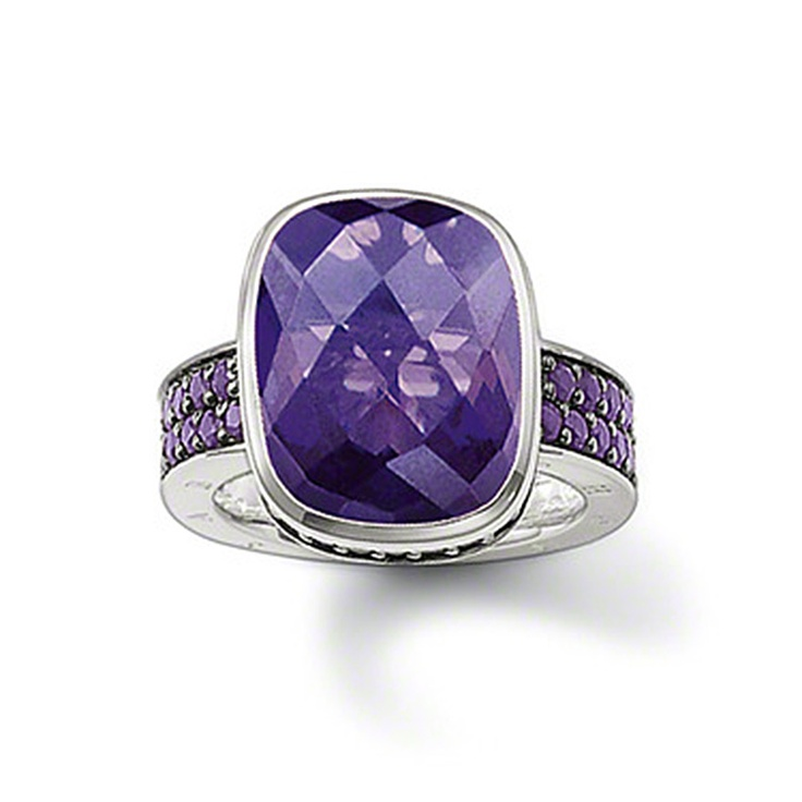 Thomas Sabo Violet Faceted Ring with Pave Shoulders