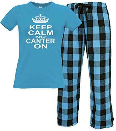 Sapphire Women's T-Shirt & Electric Blue Long Pants 'KEEP CALM AND CANTER ON' with White Print.