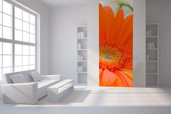 Papier peint lé unique Fleur orange - Lgd01