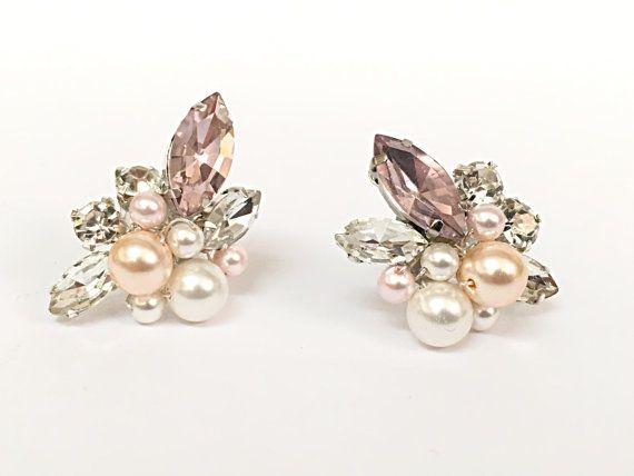 Postes de madera pendientes de boda de perla pendientes de