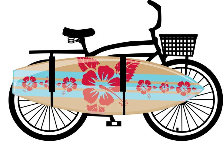 Surfer's Bike. available with all sort of boards in your own size #vinyl #Wallsticker @www.design-connection.co.za