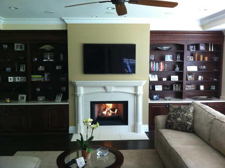 Pre Cast Surround By Balmer Fireplace Cabinetry By Wendt Wood Working Tv Above Fireplace