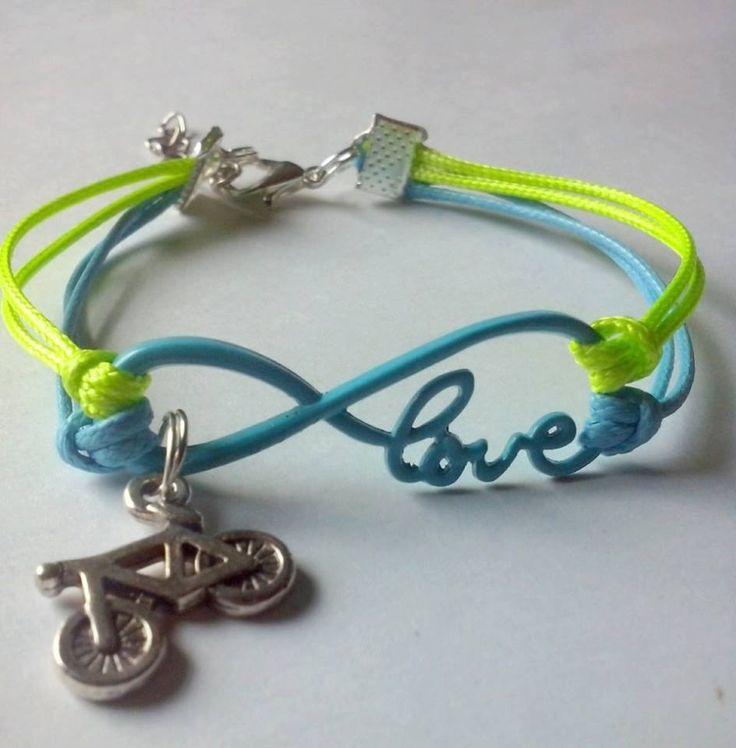 neon infinity bike bracelet / love bracelet / bestfriends bracelet / trijewelry / by TriJewelry on Etsy