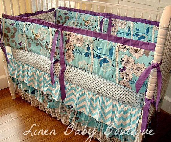 aqua grey and purple crib bedding baby bedding 2 piece set includes 3 tiered