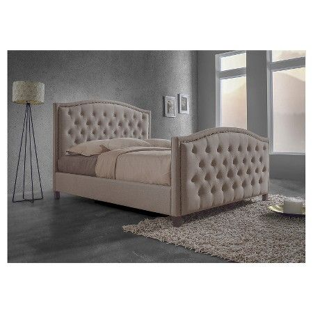 Jessie Modern Fabric Button Tufted Headboard and Footboard Bed with Nail head Trim - Brown (King) - Baxton Studio : Target