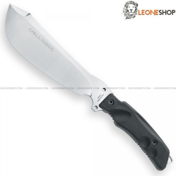 """FOX FKMD PARANG BUSHCRAFT Jungle Knife FX-0107154BS, military survival knives with fixed blade of N690Co Cobalt Vanadium stainless steel of high quality Satin finished - HRC 58/60 - Blade lenght 7.5"""" - Thickness 0.20"""" - Handle made of Black Forprene® a material with extreme ability, heat resistance, acid and saline corrosion - Overall lenght 12.6"""" - Supplied with 1000D Nylon sheath with MOLLE system, complete with removable Survival Kit in a waterproof aluminum box..."""